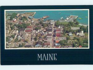 1980's GREAT AERIAL VIEW OF TOWN Bar Harbor Maine ME hp7656