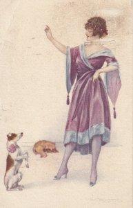 Art Deco ; BOMPARD ; Woman & Begging Jack Russel dog , PU-1922