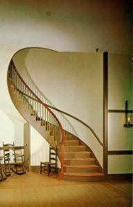 KY - Pleasant Hill, Museum of Shaker Life. Trustees' Office, Spiral Staircase...