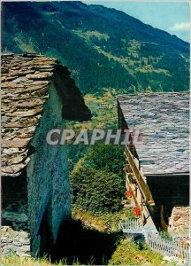 Modern Postcard Our Beautiful Alps Picturesque houses to toil covered with Lauze