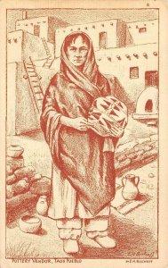 Pottery Vendor, Taos Pueblo, NM Native American Indian Bischoff Vintage Postcard