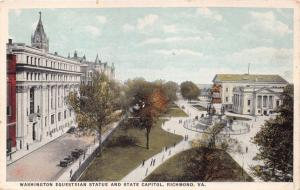 RICHMOND VIRGINIA WASHINGTON EQUESTRIAN STATUE~STATE CAPITOL POSTCARD 1910s