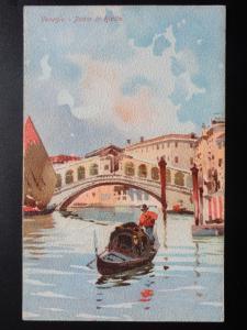 Italy: Venice / Venezia PONTE DI RIALTO Artist Impression - Old Postcard
