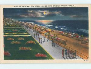 Unused Linen PROMENADE ALONG BEACH AT NIGHT Virginia Beach Virginia VA M7147