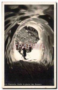 Old Postcard Chamonix Bossons Glacier Cave