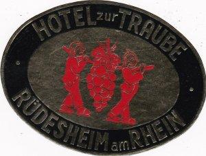 Germany Ruedesheim am Rhein Hotel Zur Traube Vintage Luggage Label sk2874