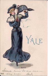 COLLEGE GIRL, Yale University, 1905 Pennant, Glitter, Beautiful Elegant Woman CT