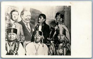 OSAGE INDIAN COUNCIL ANTIQUE REAL PHOTO PC RPPC CHEIFS & PRESIDENT WILLIAM TAFT