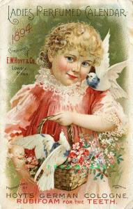 1894 Lowell Massachusetts Ad Card: Hoyt's German Cologne Perfumed Calendar