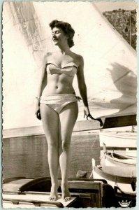 1960 RPPC Photo Postcard Young Woman in BIKINI Bathing Suit on Boat BERN Cancel