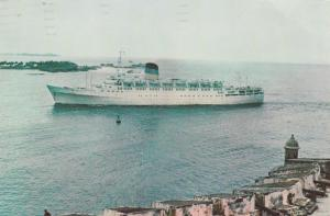Steamer TSS Olympia entring Harbor in Puerto Rico - pm 1974