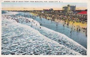 New Jersey Ocean City General View Of Beach front From Municipal Pier 1937