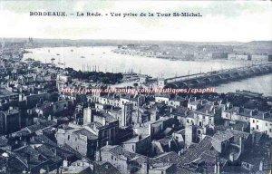 Bordeaux Old Postcard The harbor view prsie Tower St Michel