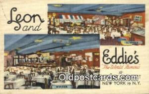Linen, Leon & Eddie's Restaurant, New York City, NYC Postcard Post Card USA O...
