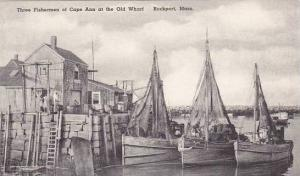 Massachusetts Rockport Three Fishermen Of Cape Ann At The Old Wharf Albertype