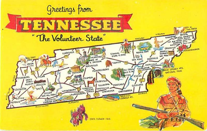 Greetings from Tennessee The Volunteer State Yellow Map Post
