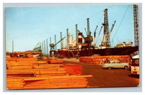 Vintage 1960's Postcard Cargo Ships at the Wilmington Marine Terminal Delaware