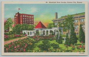 Kansas City~Municipal Rose Garden~1940s Linen Postcard