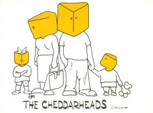 La Crosse, WI, The Cheddarheads Mom, Dad, Kids Comic Continental Postcard