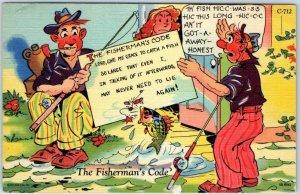 RAY WALTERS Postcard Fisherman's Code FINNY CREATURE COMICS C-712 Curteich Linen