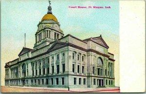 Fort Wayne, Indiana Postcard ALLEN COUNTY COURT HOUSE Street View c1910s Unused