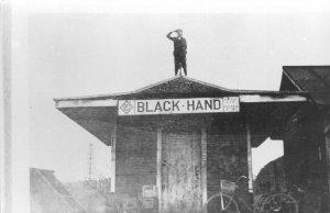 F49/ Newark Ohio RPPC Postcard REPRINT c1960s Trolley Depot Black Hand 8