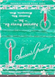 MATCHBOOK ADV: Seasons Greetings, Appraisal Service Co., Minneapolis, Minnesota