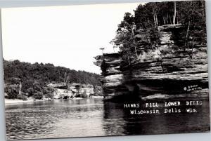 RPPC Hawks Bill Rock Lower Dells WI Vintage Postcard Y02