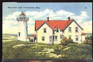 USA Postcard Race Point Lighthouse Provincetown Mass. PM 1949