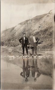 Two Young Men in Suits Portrait Reflection in Water Unused RPPC Postcard F97