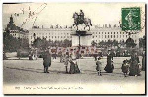 Old Postcard Lyon Place Bellecour and Louis XIV