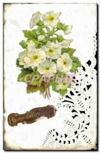 Old Postcard Fantasy Flowers Embroidery