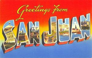 Greetings From San Juan Puerto Rico Large Letter Postcard