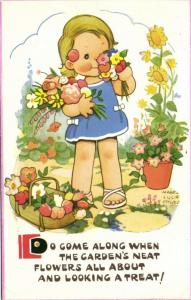 artist signed MABEL LUCIE ATTWELL, Girl Flowers (1965)
