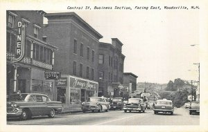 Woodsville NH Central Street Storefronts Old Cars Taxi Postcard