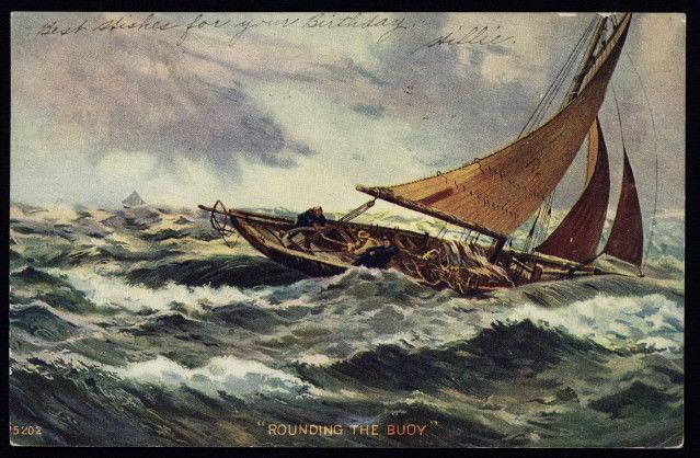 1906 sailing boat in rough waters