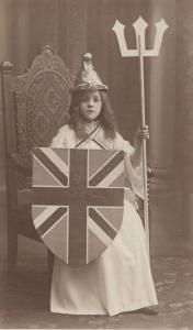 Child In Fireman Helmet Queen Boadicea Fancy Dress Old Postcard