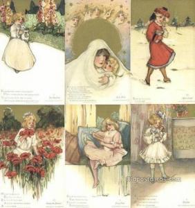Samuel Schmucker Postcards 6 Card Set Childhood Days Postcard Old Vintage Ant...