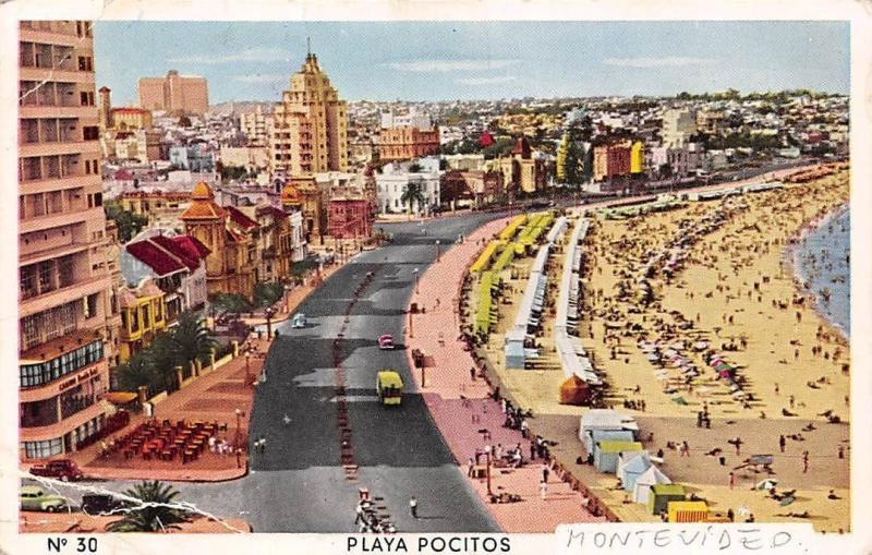 Uruguay, Montevideo, Playa Pocitos, animated beach, cars, terrace