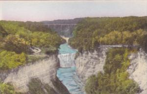 New York Castile Middle Falls From Inspiration Point Letchworth State Park Al...