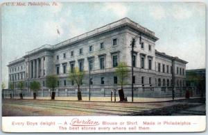 1910s Philadelphia, PA Postcard U.S. Mint Building View w/ Puritan Shirts Ad