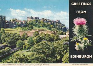 Greetings Greetings From Edinburgh Scott Monument and Princes Street Gardens