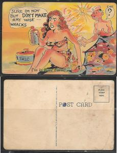 Humor, swimming suit girl, sunburn postcard