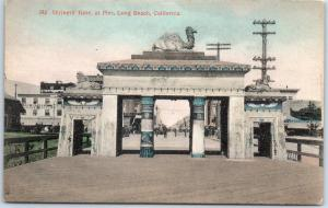 Long Beach, California Postcard Shriners Gate at Pier HAND-COLORED c1910s CVC