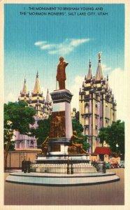 Salt Lake City, Utah, UT, Brigham Young Monument, Linen Vintage Postcard g9244