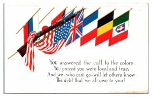 1903 Springfield Rifle, You Answered the Call WWI Allies Patriotic Flag Postcard
