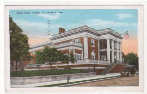 Elks Club House LaFayette Indiana 1947 postcard