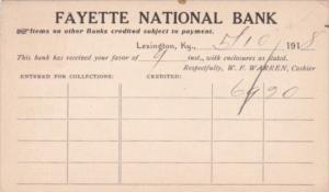 Receipt Fayette National Bank Lexington Kentucky 1918