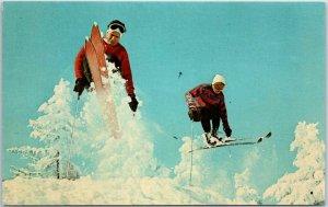 1960s Pocono Mountains Pennsylvania Postcard Skiing and a Fast Jump Unused