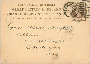 Entier Postal Stationery Postal Great Britain Great Britain 1881 London to Bo...